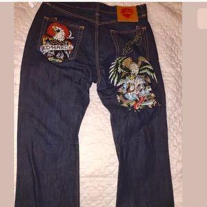 Ed Hardy  Dk Wash Mens Jeans 38/32 embellished